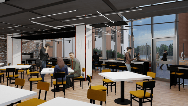 Rendering of new Wolfgang puck restaurant at Rochester General Hospital